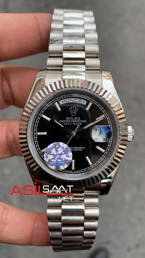 Rolex Day-Date Silver Replika Saat ROLDD006