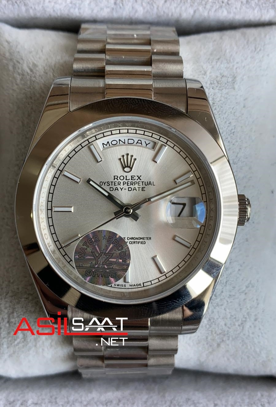 Rolex Day-Date Silver Replika Saat ROLDD012