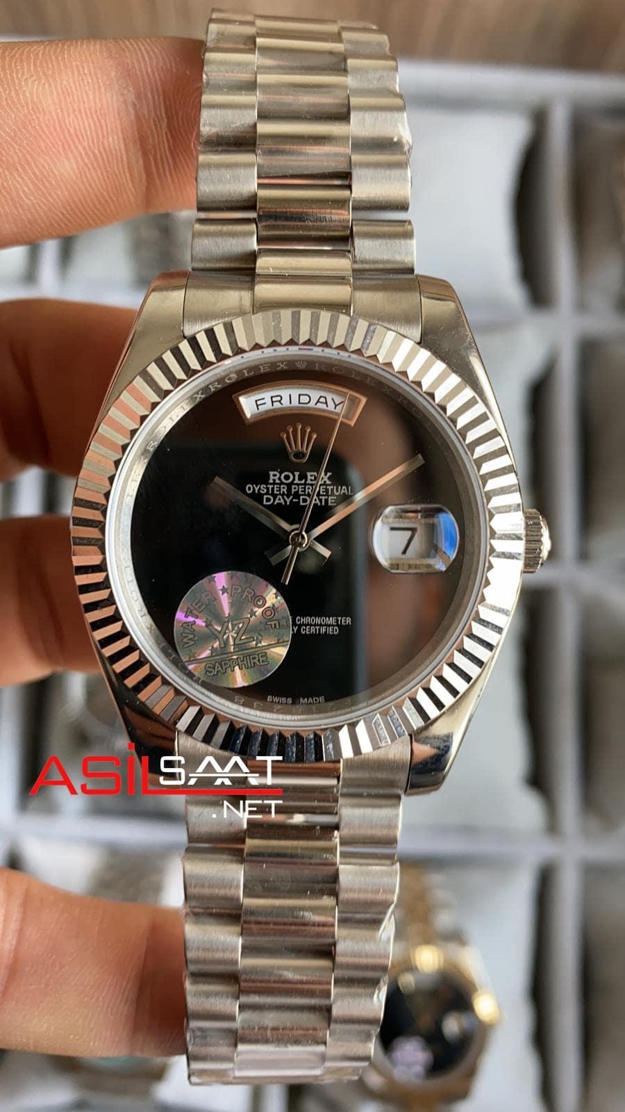 Rolex Day-Date Silver Replika Saat ROLDD040