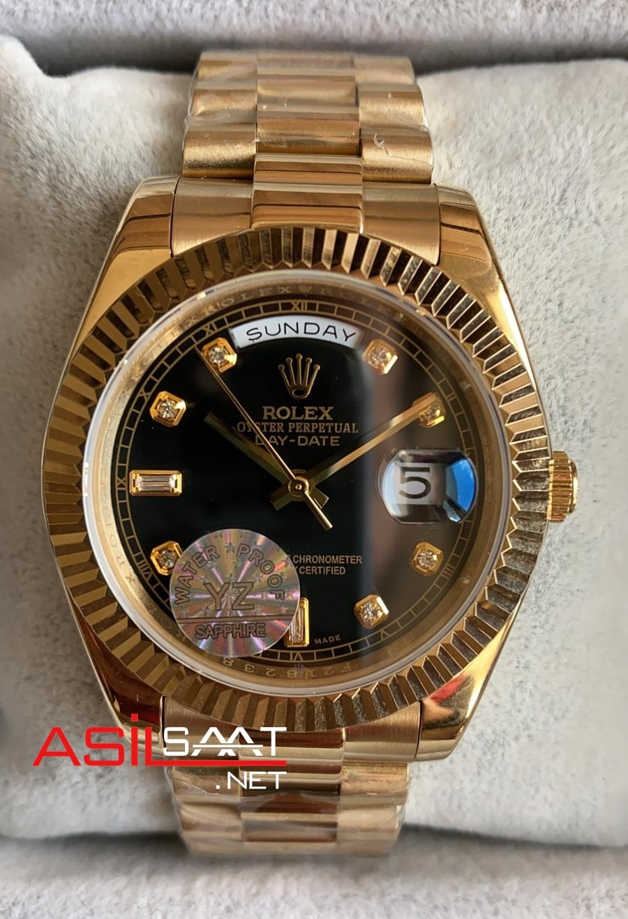 Rolex Day-Date Diamond Gold Replika Saat ROLDD028