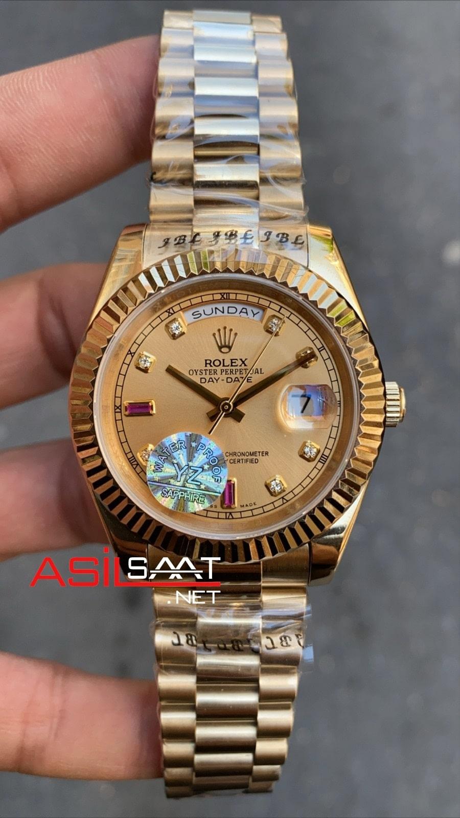 Rolex Day-Date Diamond Gold Replika Saat ROLDD029