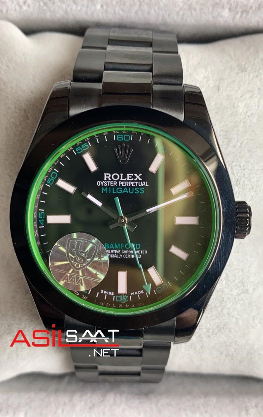 Rolex Oyster Perpetual Milgauss Bamford Black Replika Saat ROLMI003