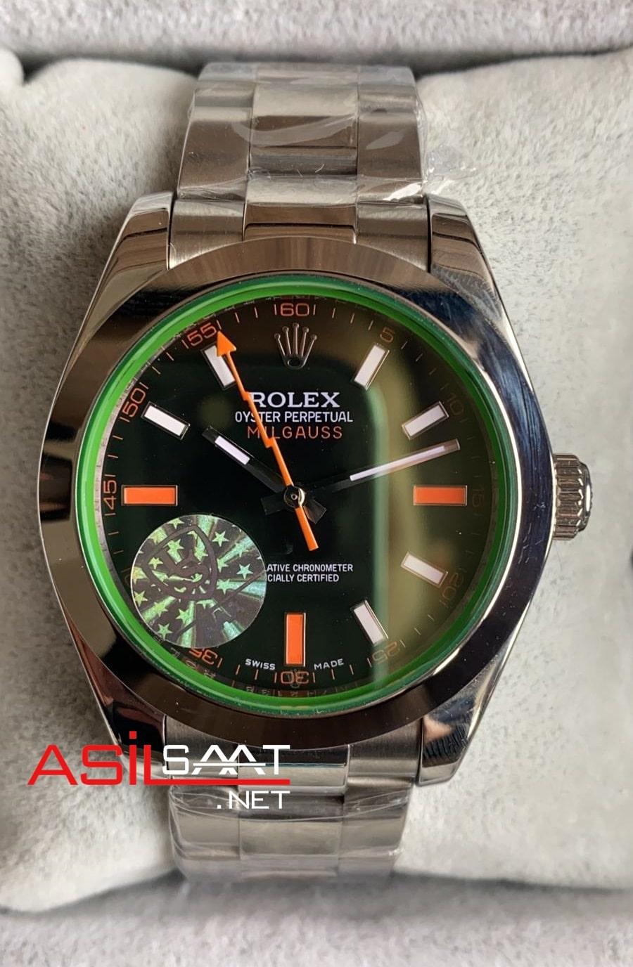 Rolex Oyster Perpetual Milgauss Silver Replika Saat ROLMI001