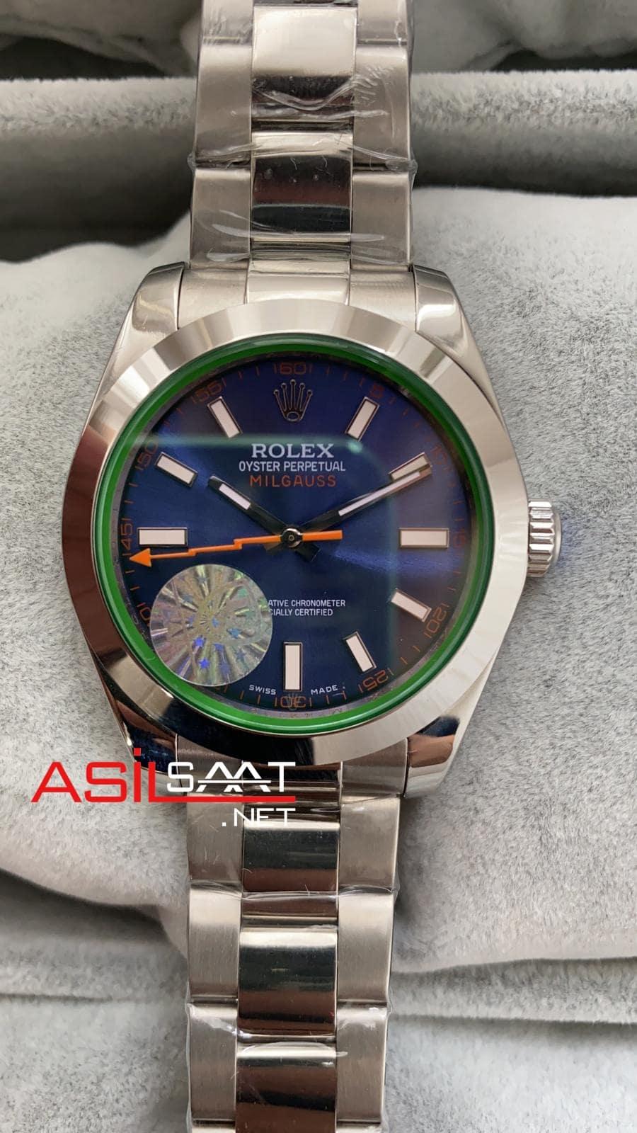Rolex Oyster Perpetual Milgauss Z - Blue Silver Replika Saat ROLMI002
