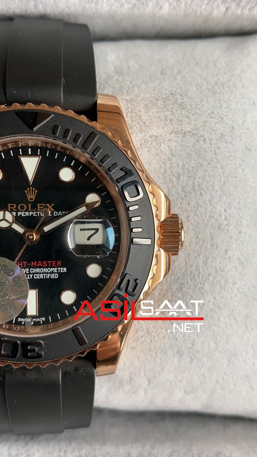 Rolex Yacht-Master Rosegold Black Replika Saat ROLYAC009