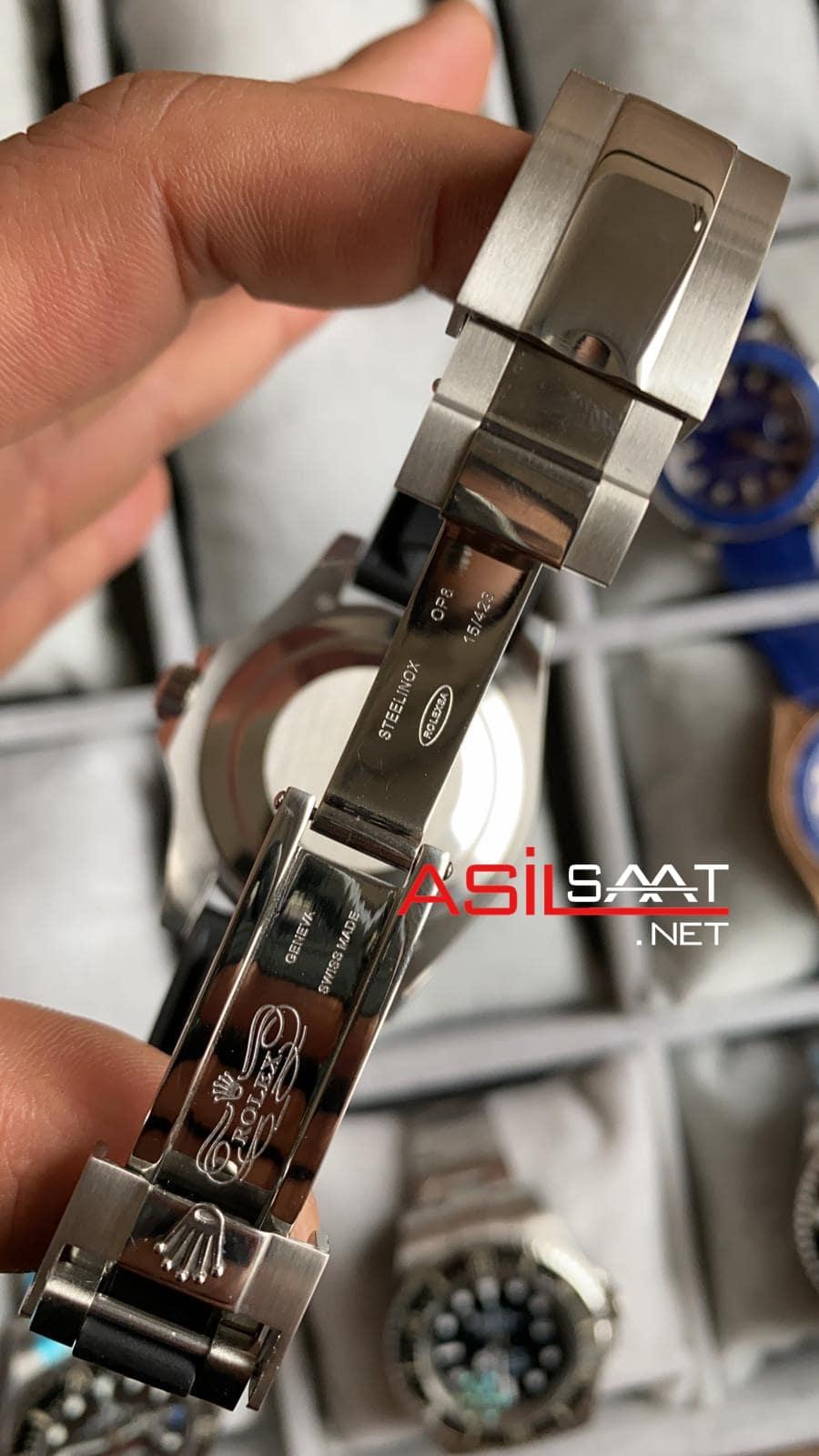Rolex Yacht-Master Silver Black Replika Saat ROLYAC008