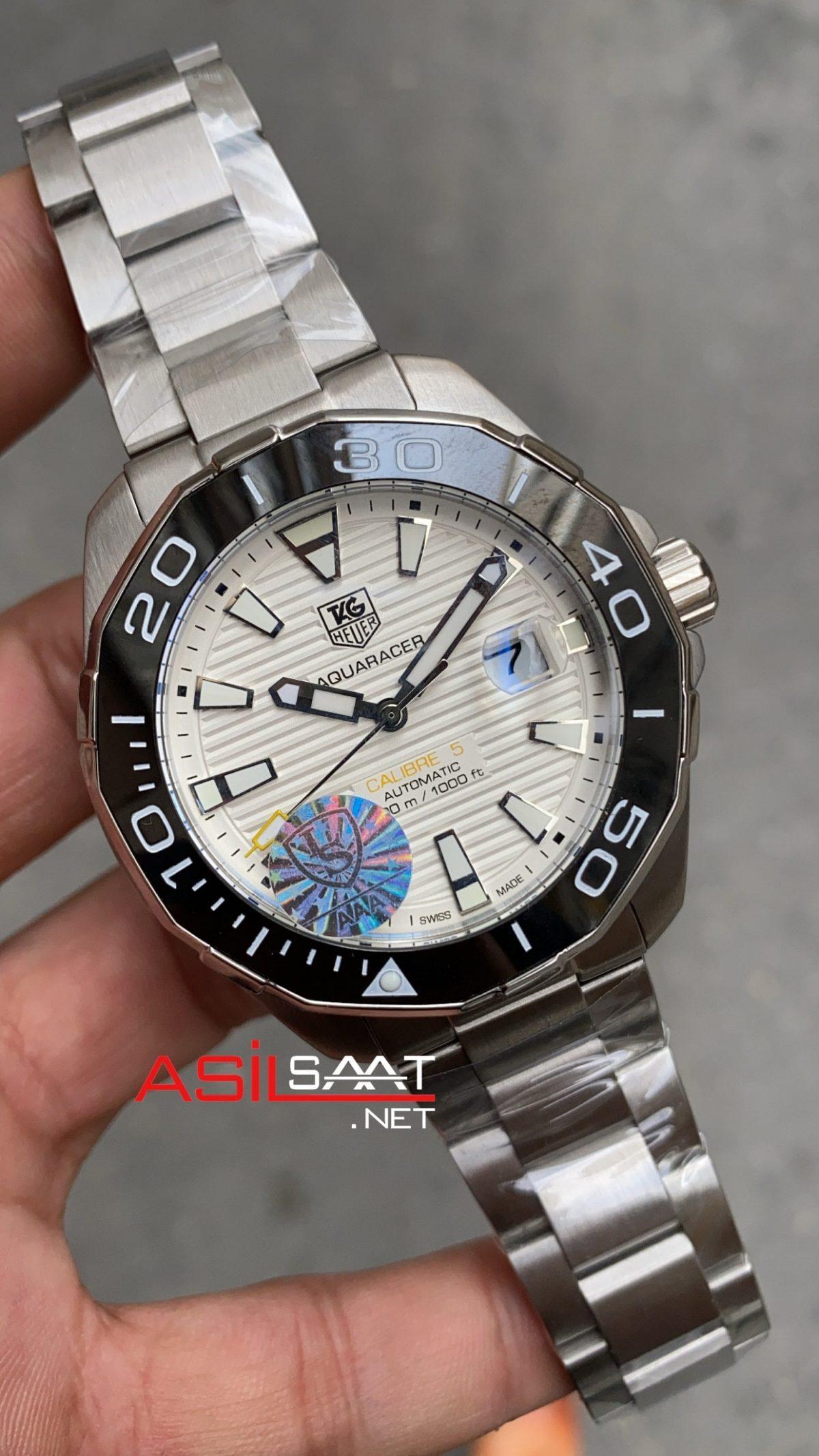 TAG Heuer Aquaracer Calibre 5 Silver Replika Saat TAGA005