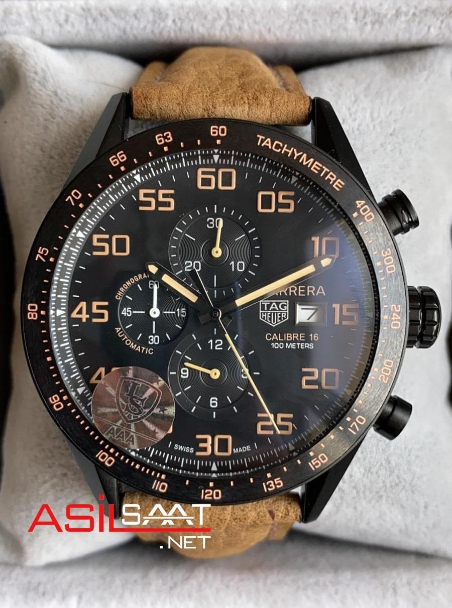 TAG Heuer Carrera Calibre16 Black Chronograph Replika Saat TAGC16009