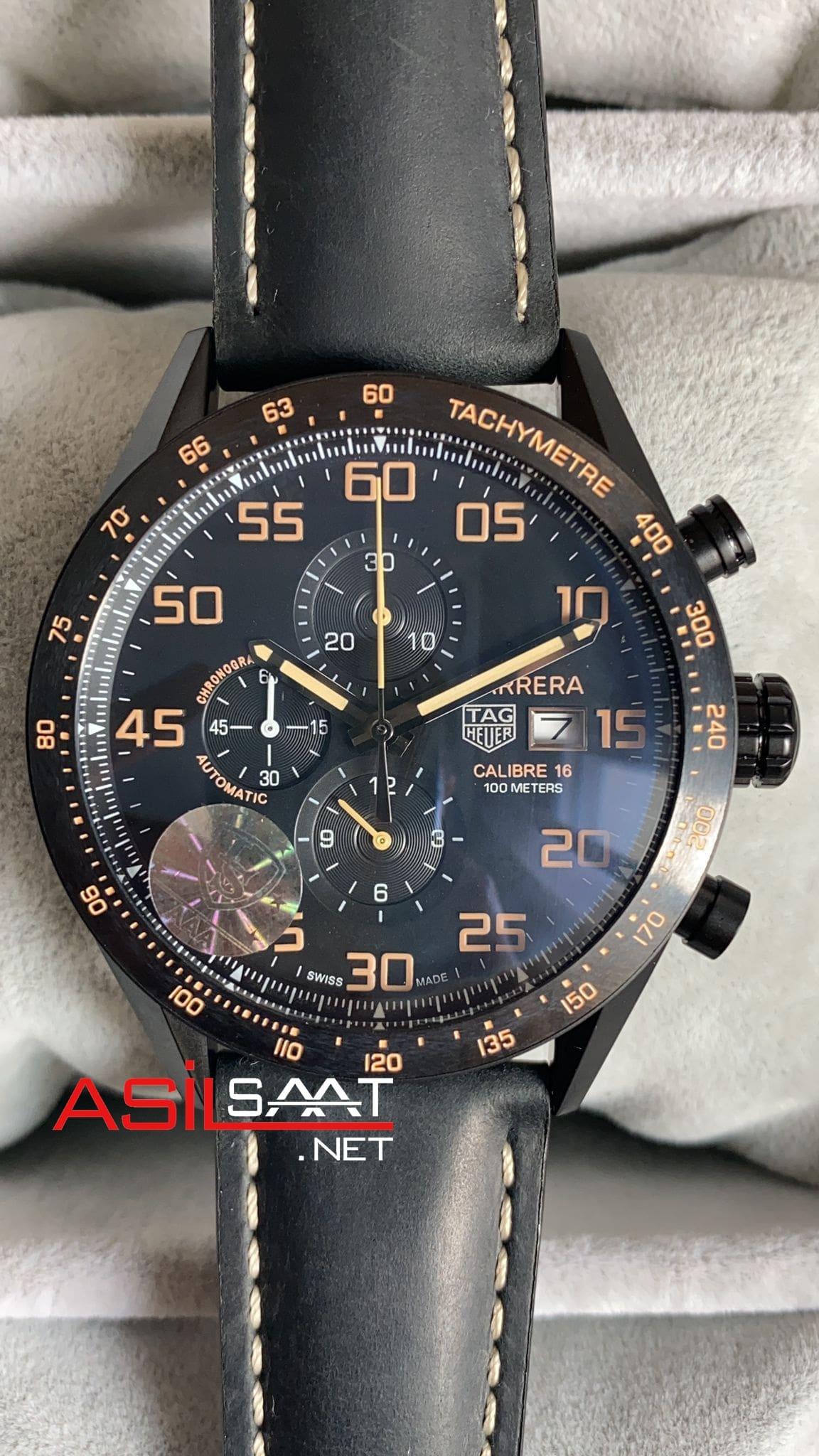 TAG Heuer Carrera Calibre16 Black Chronograph Replika Saat TAGC16010
