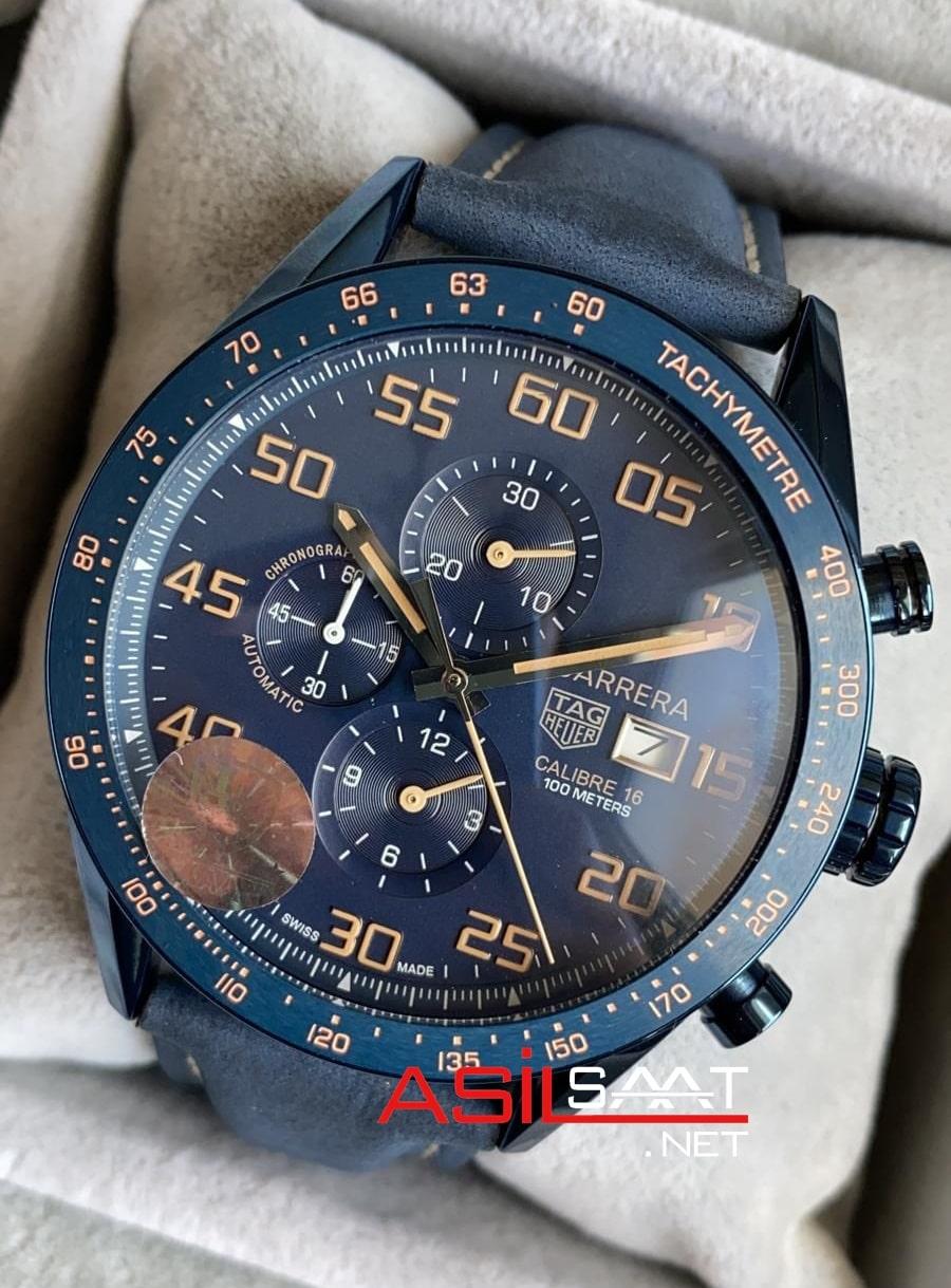 TAG Heuer Carrera Calibre16 Blue Chronograph Replika Saat TAGC16011