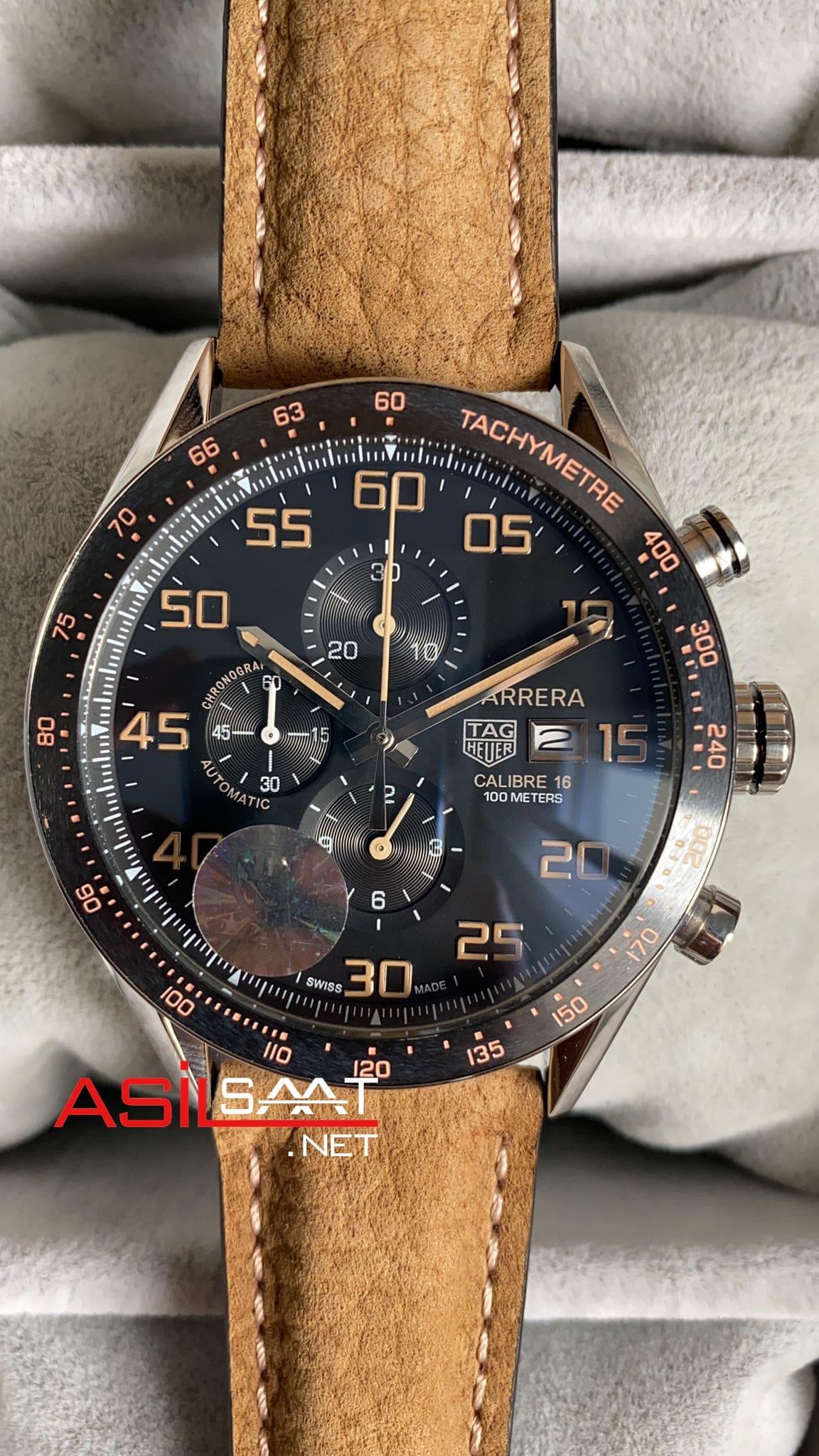 TAG Heuer Carrera Calibre16 Silver Chronograph Replika Saat TAGC16006