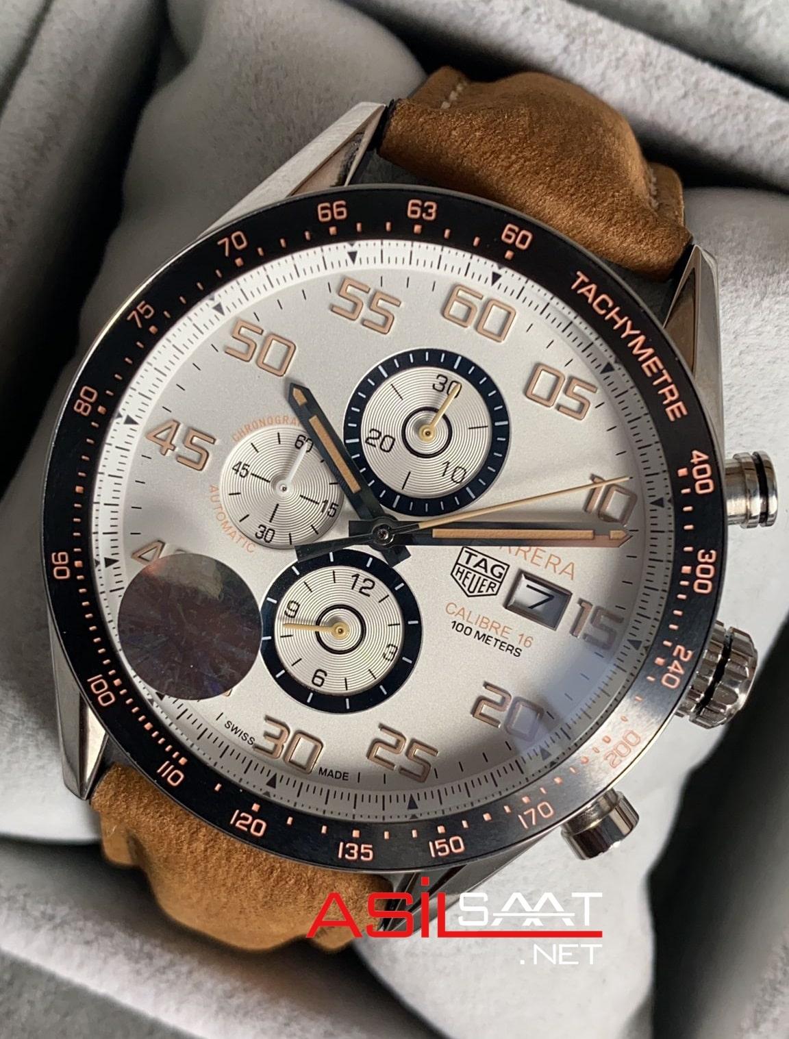 TAG Heuer Carrera Calibre16 Silver Chronograph Replika Saat TAGC16007