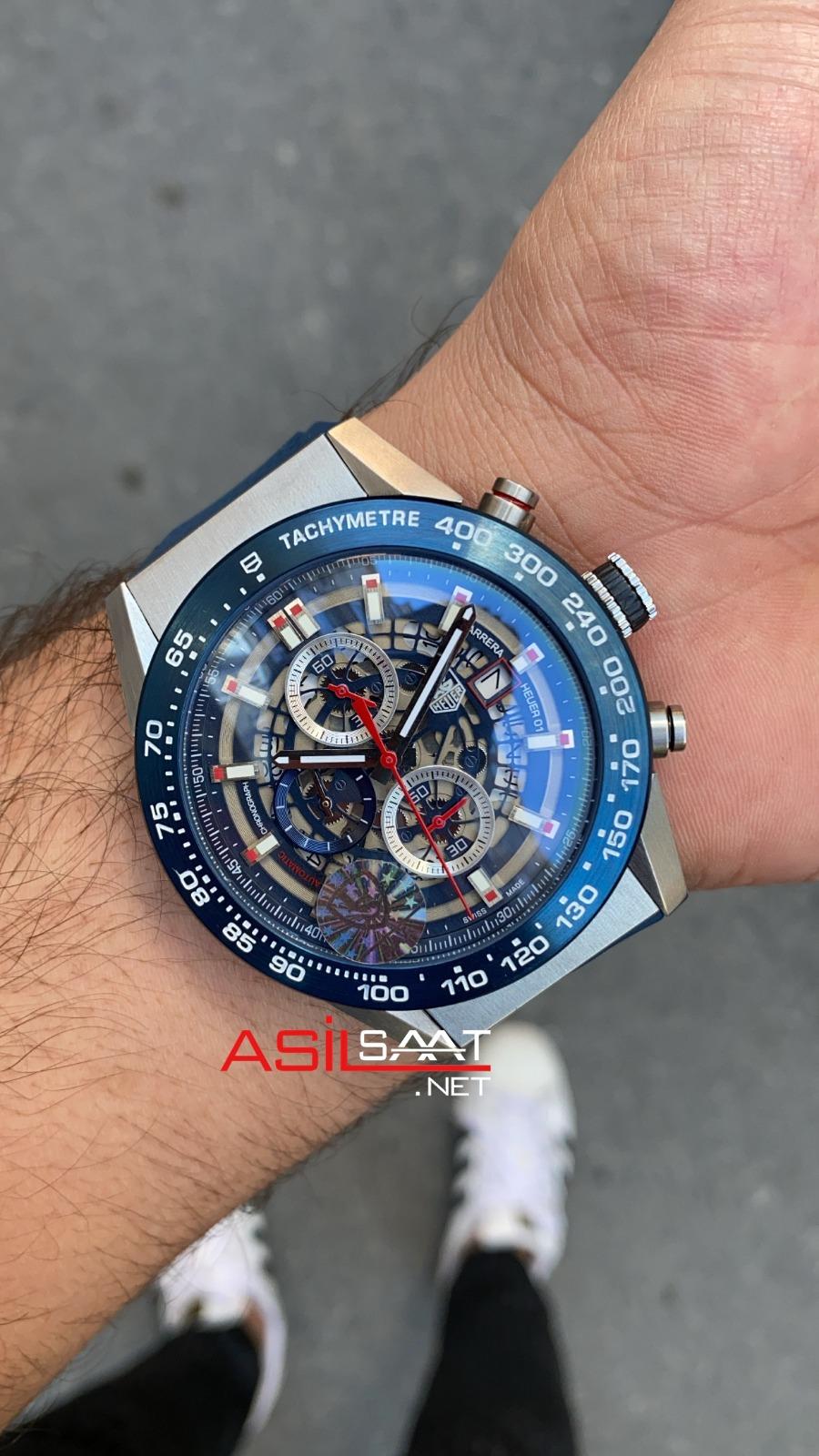 TAG Heuer Carrera Heuer 01 Silver Blue Replika Saat TAGCH012