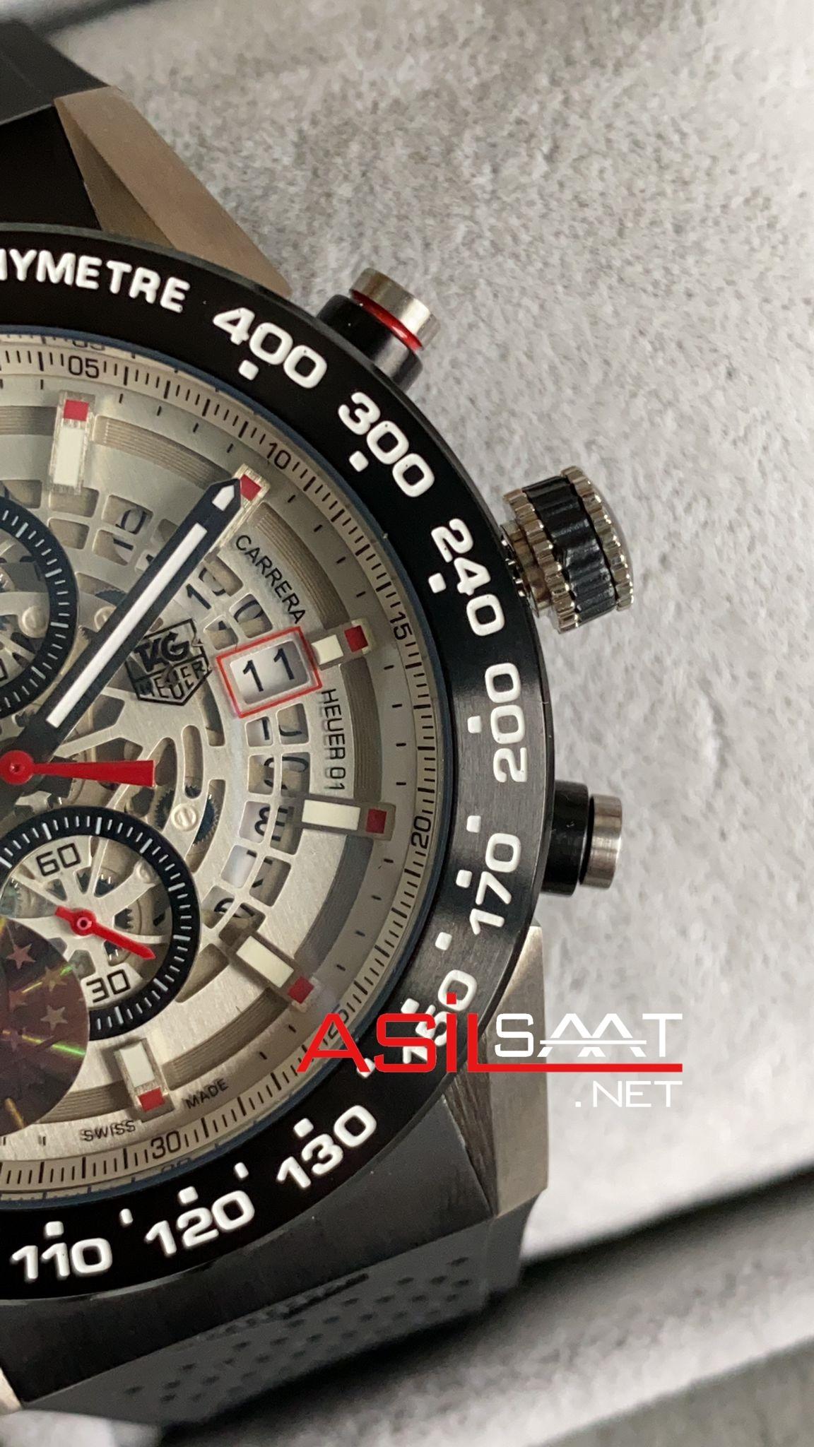 TAG Heuer Carrera Heuer 01 Silver Replika Saat TAGCH010