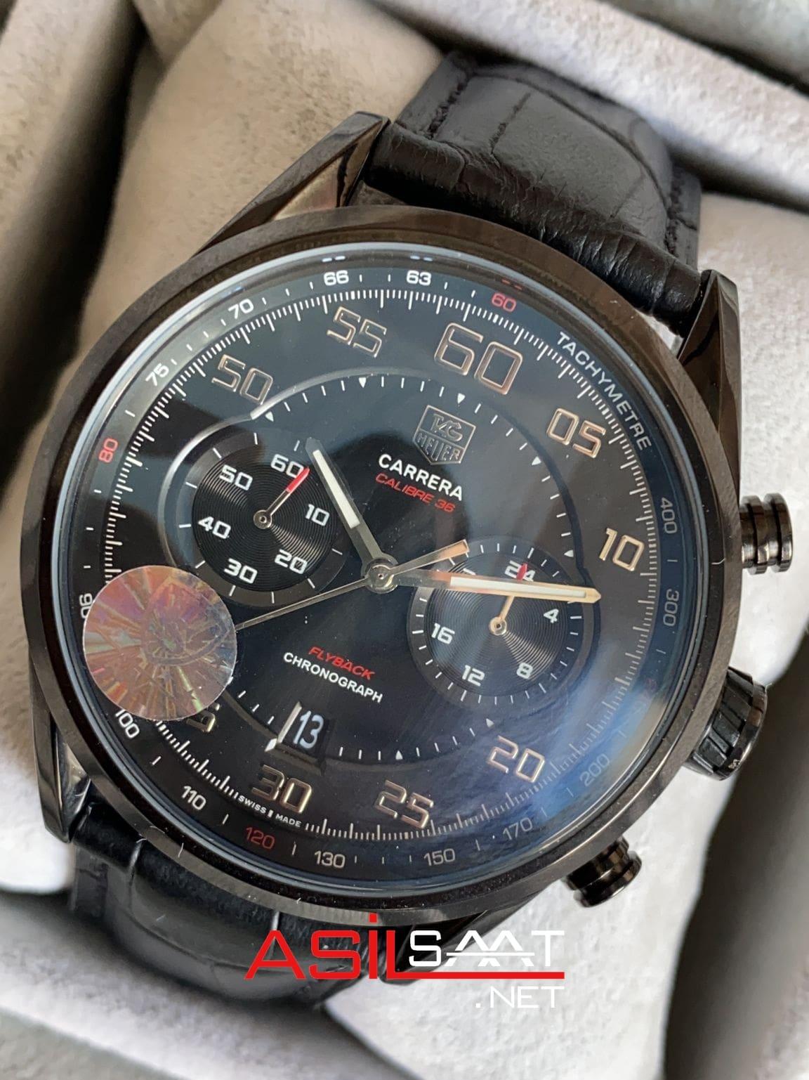 TAG Heuer Jack Heuer Flyback Carrera Calibre 36 Black Replika Saat TAGJH002