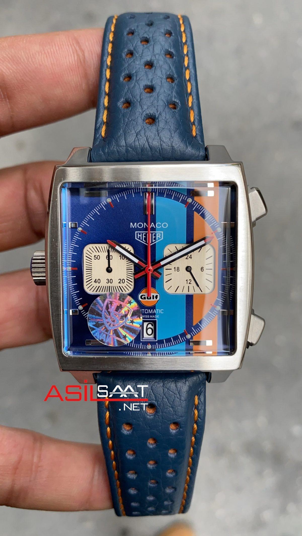Tag Heuer Monaco Gulf Silver Blue Replika Saat TAGMO007