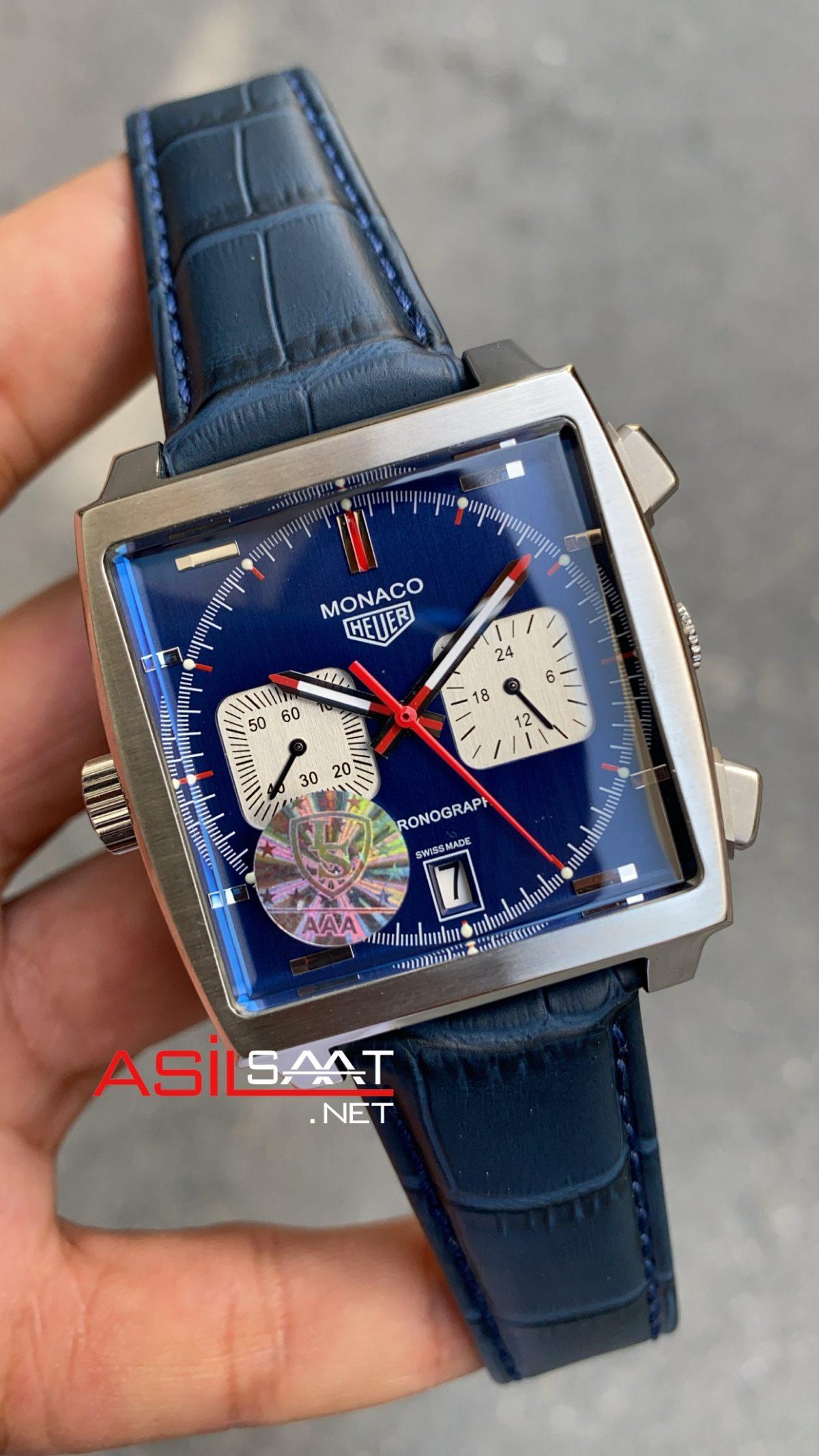 Tag Heuer Monaco Silver Blue Replika Saat TAGMO002