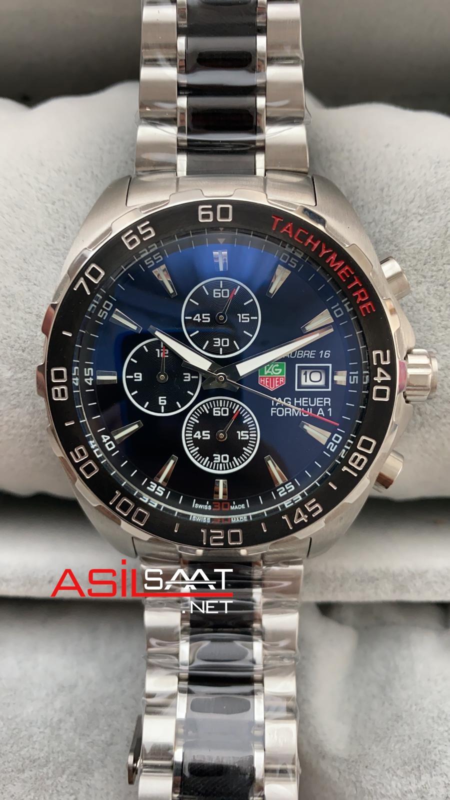 TAG Heuer Formula F1 Calibre 16 Silver Black Chronograph Replika Saat TAGFC001