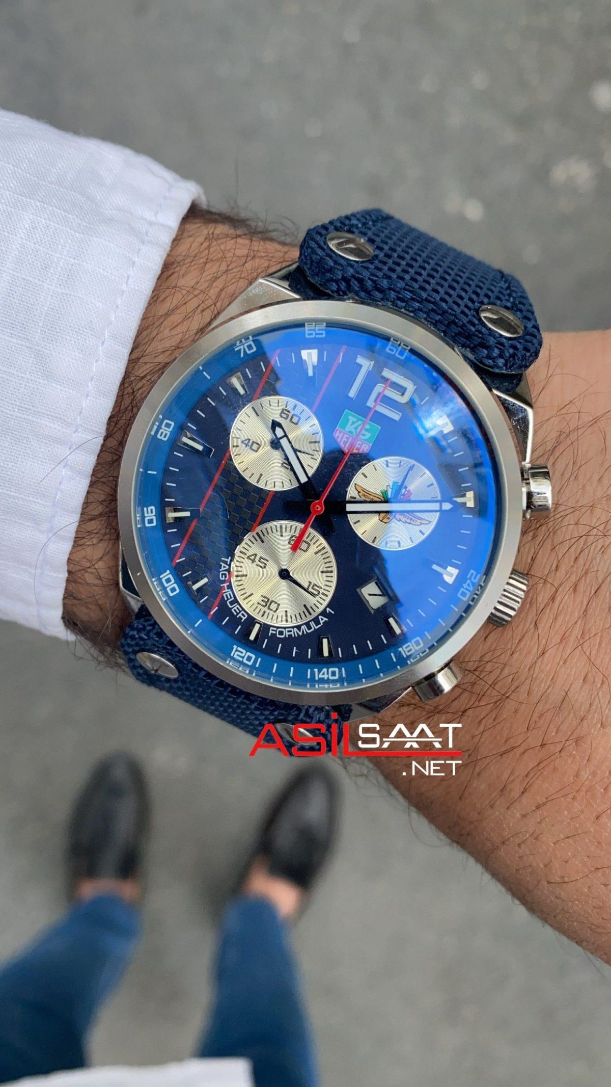 TAG Heuer Formula1 Carrera Silver Blue Replika Saat TAGFC011