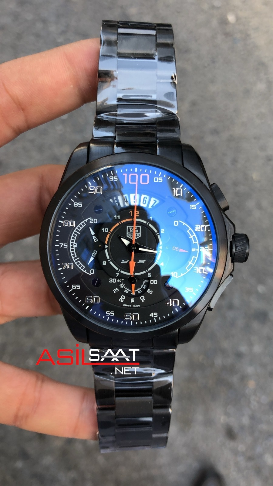 TAG Heuer Mercedes SLS Black Chronograph Replika Saat TAGMB003