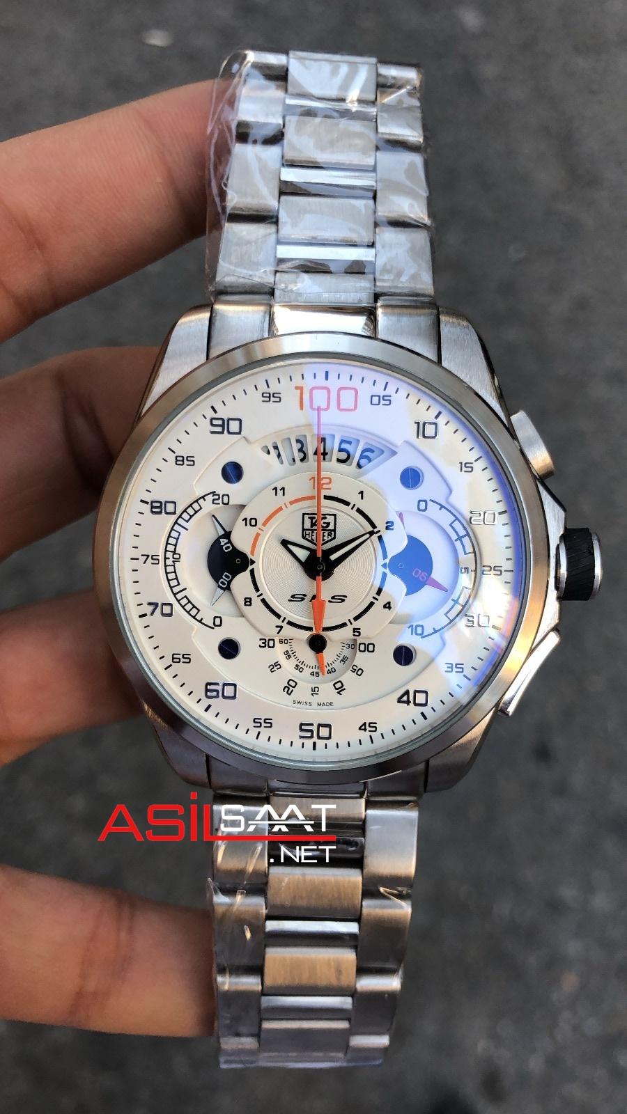 TAG Heuer Mercedes SLS Silver Chronograph Replika Saat TAGMB002