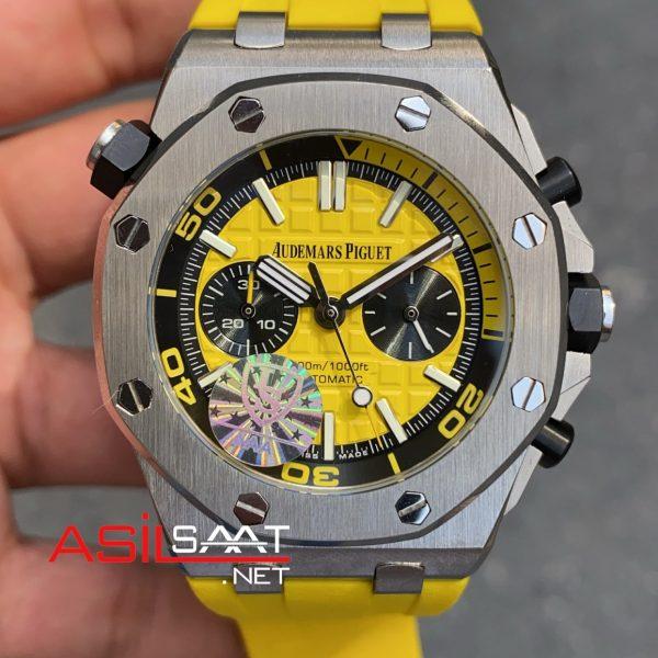 AUDEMARS PIGUET Royal Oak Offshore Silver Yellow Replika Saat APOS003