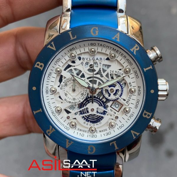 BVLGARI Fabrique Silver Blue Replika Saat BF006