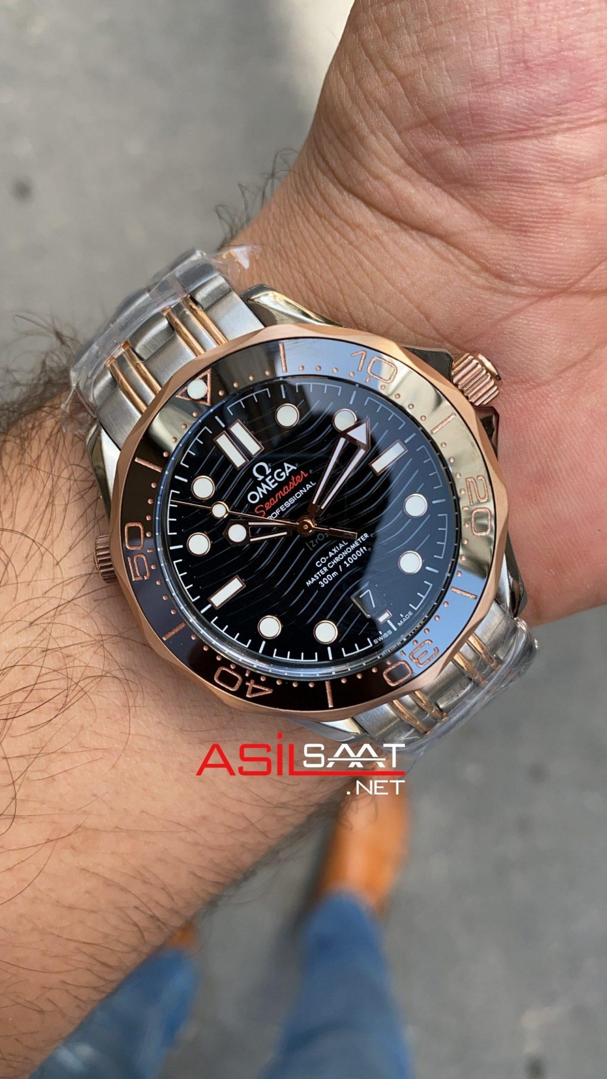 OMEGA Seamaster Diver 300M Silver Rosegold Replika Saat OSD006