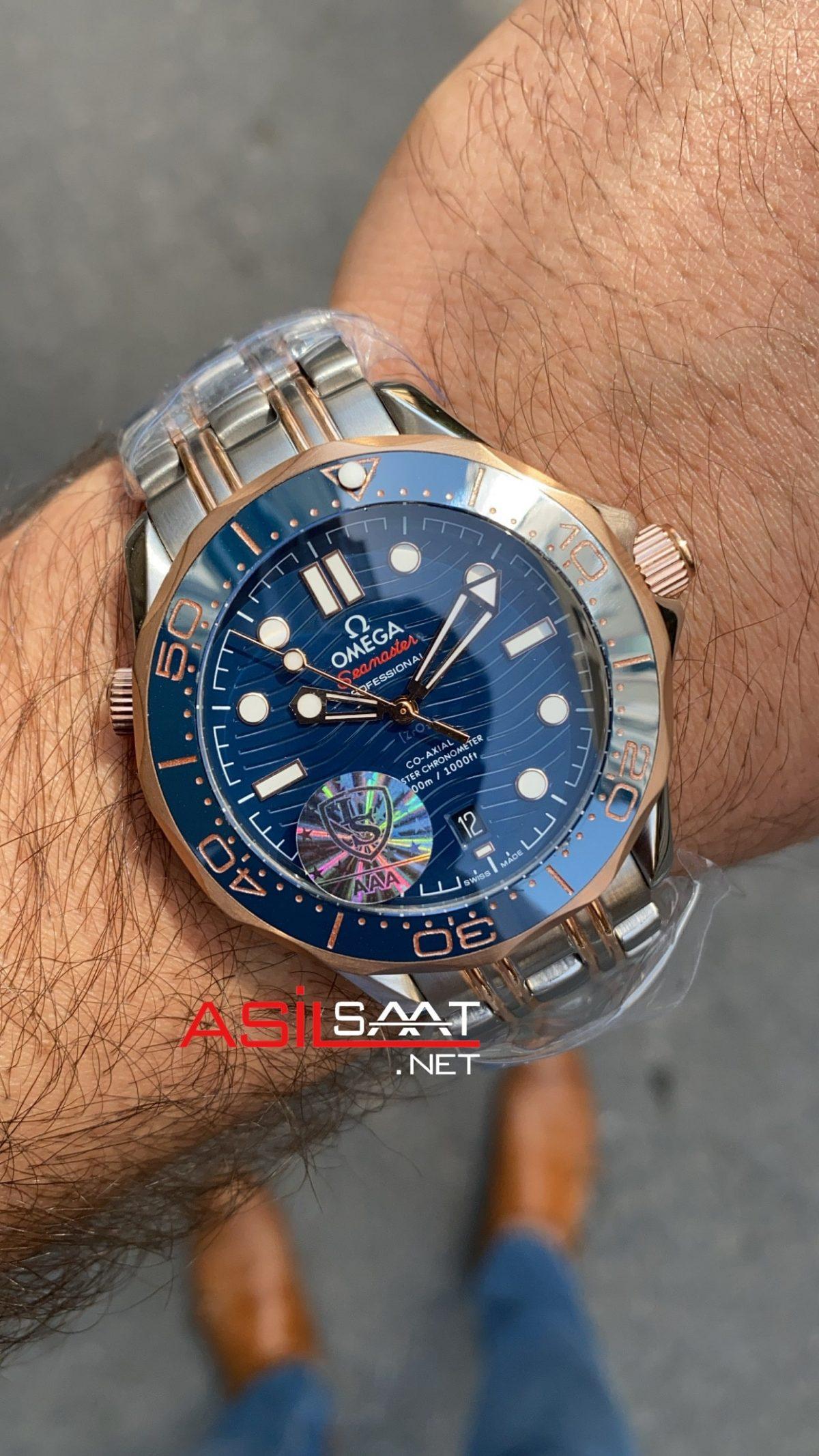 OMEGA Seamaster Diver 300M Silver Rosegold Replika Saat OSD007