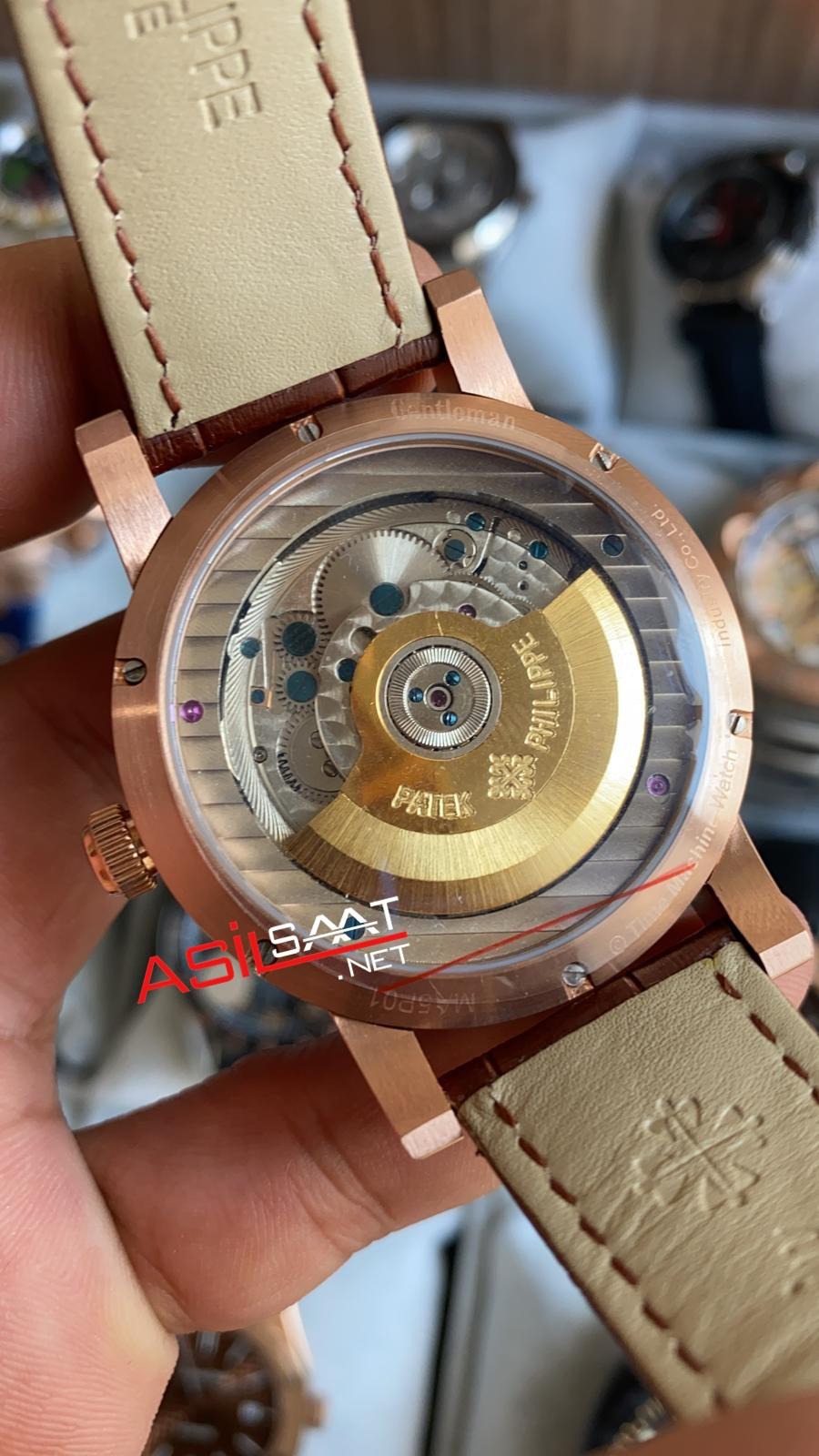 PATEK PHILIPPE Geneve Power Reserve Dual Time Rosegold Replika Saat PPDU011
