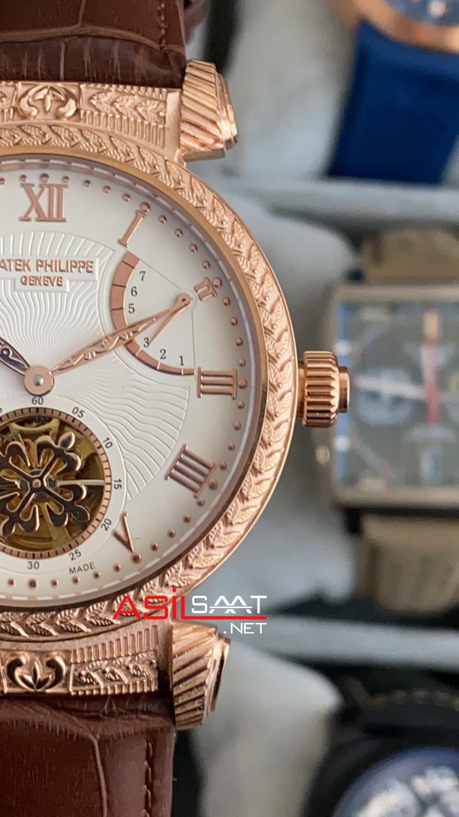 PATEK PHILIPPE Geneve Tourbillon İşlemeli Kasa Rosegold Replika Saat PPTO021