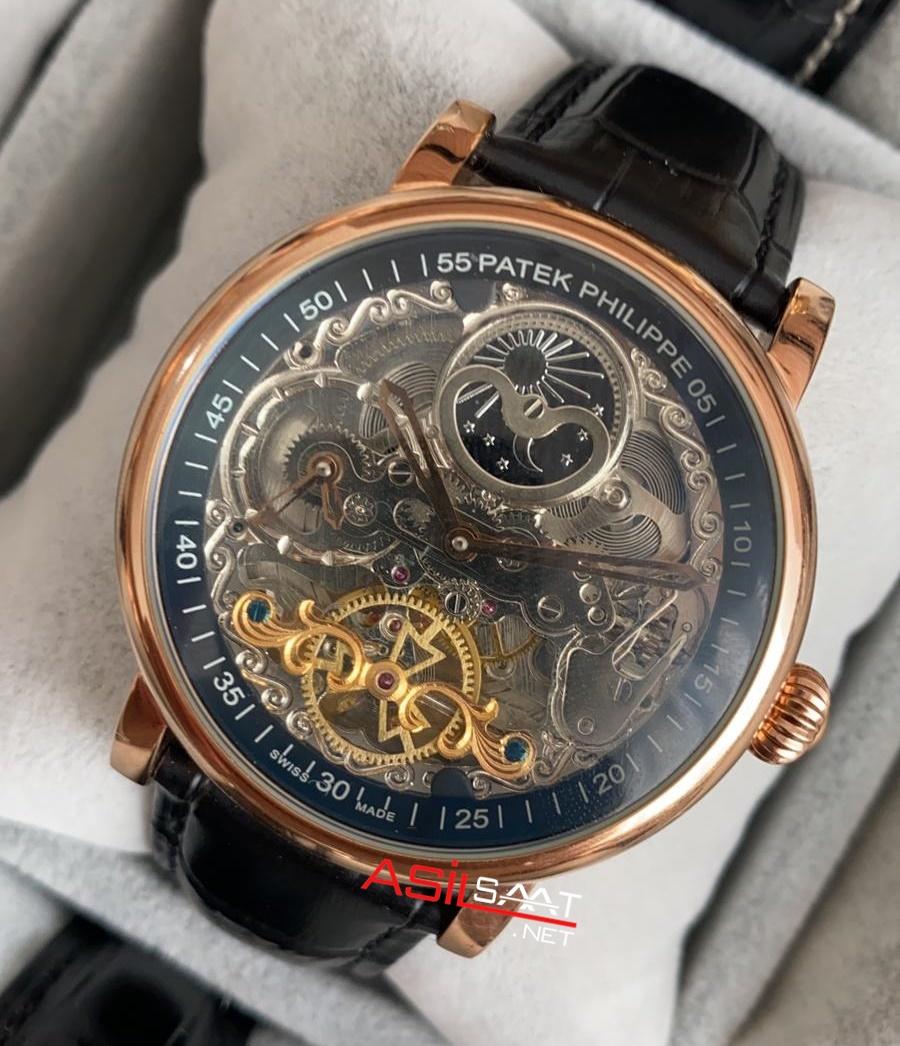 PATEK PHILIPPE Geneve Tourbillon Skeleton Dual Time Rosegold Replika Saat PPSKE007