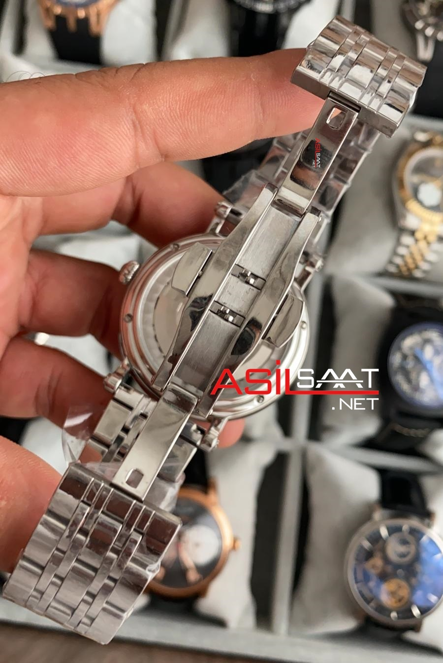 PATEK PHILIPPE Geneve Tourbillon Skeleton Dual Time Silver Replika Saat PPSKE001