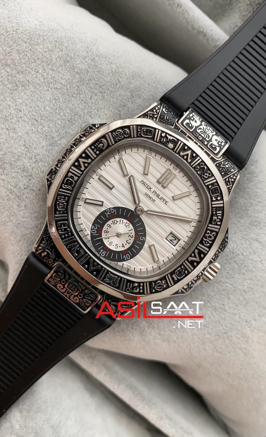 Patek Philippe Nautilus Silver İşlemeli Kasa Replika Saat PPNA034