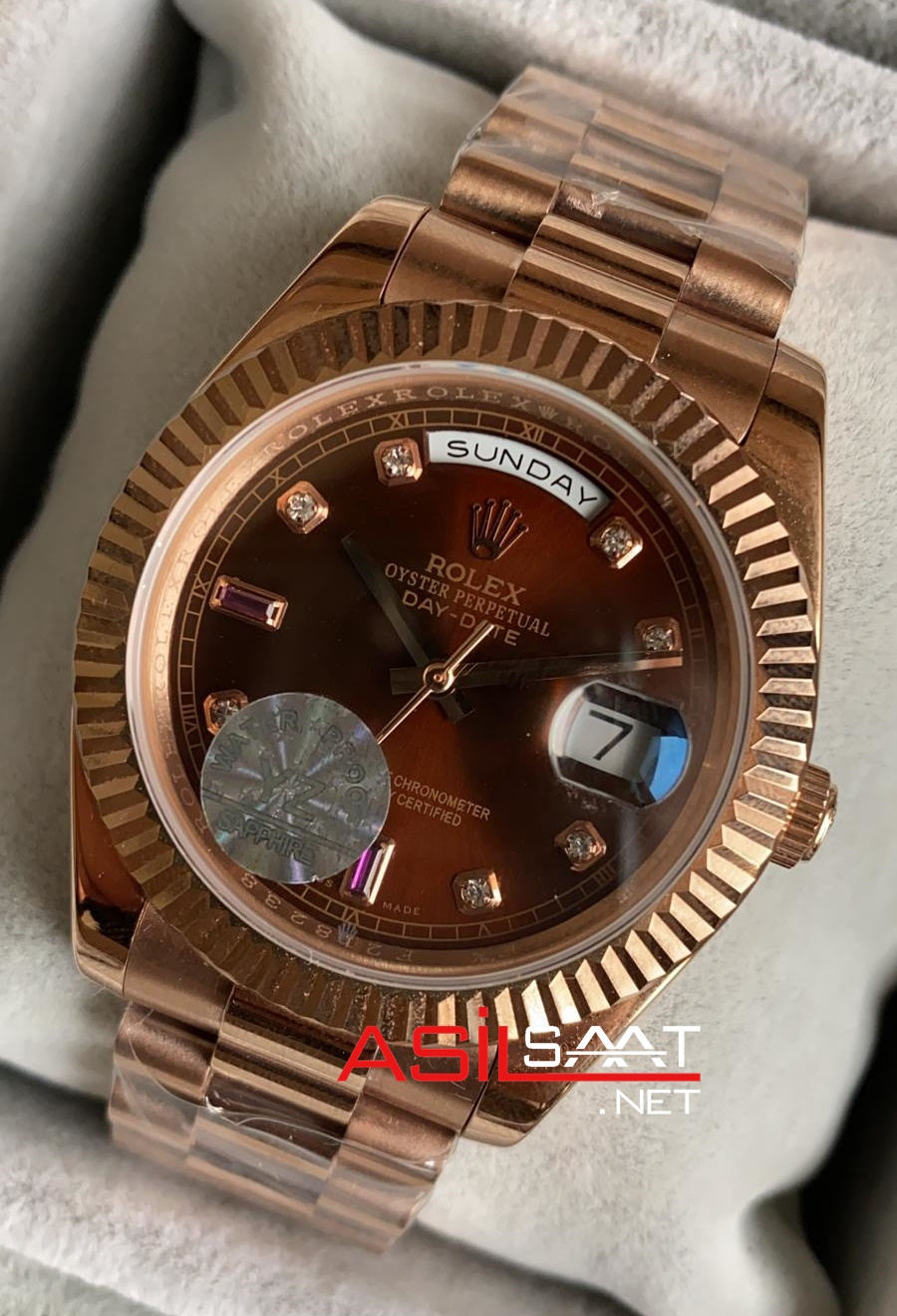 Rolex Day Date Diamond Chocolate Rosegold Replika Saat ROLDD052