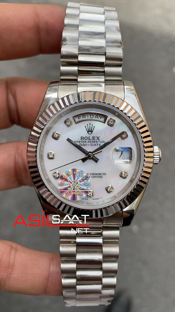 Rolex Day Date Diamond Silver Replika Saat ROLDD049