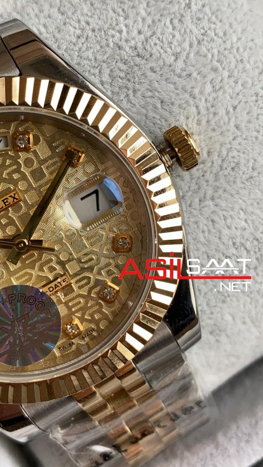 Rolex Day Date Diamond Two Tone Replika Saat ROLDD023