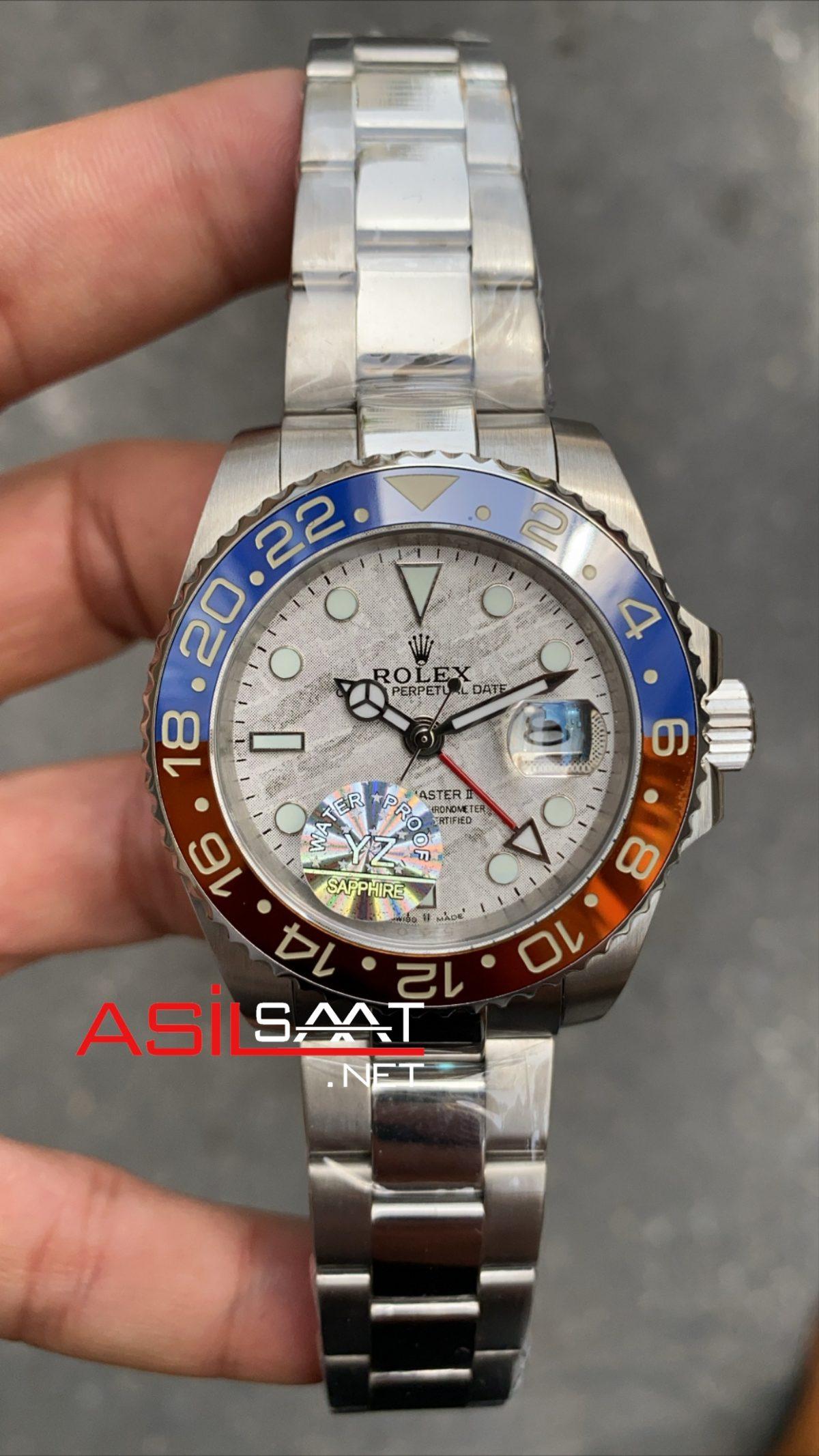 Rolex Oyster Perpetual Gmt Master II Meteor Silver Replika Saat ROLG012