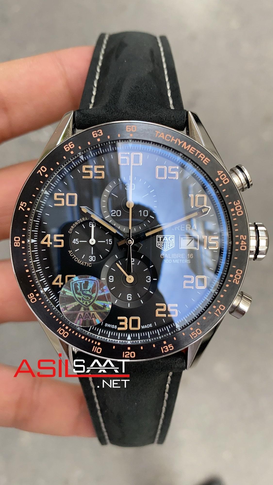 TAG Heuer Carrera Calibre16 Black Chronograph Replika Saat TAGC16008