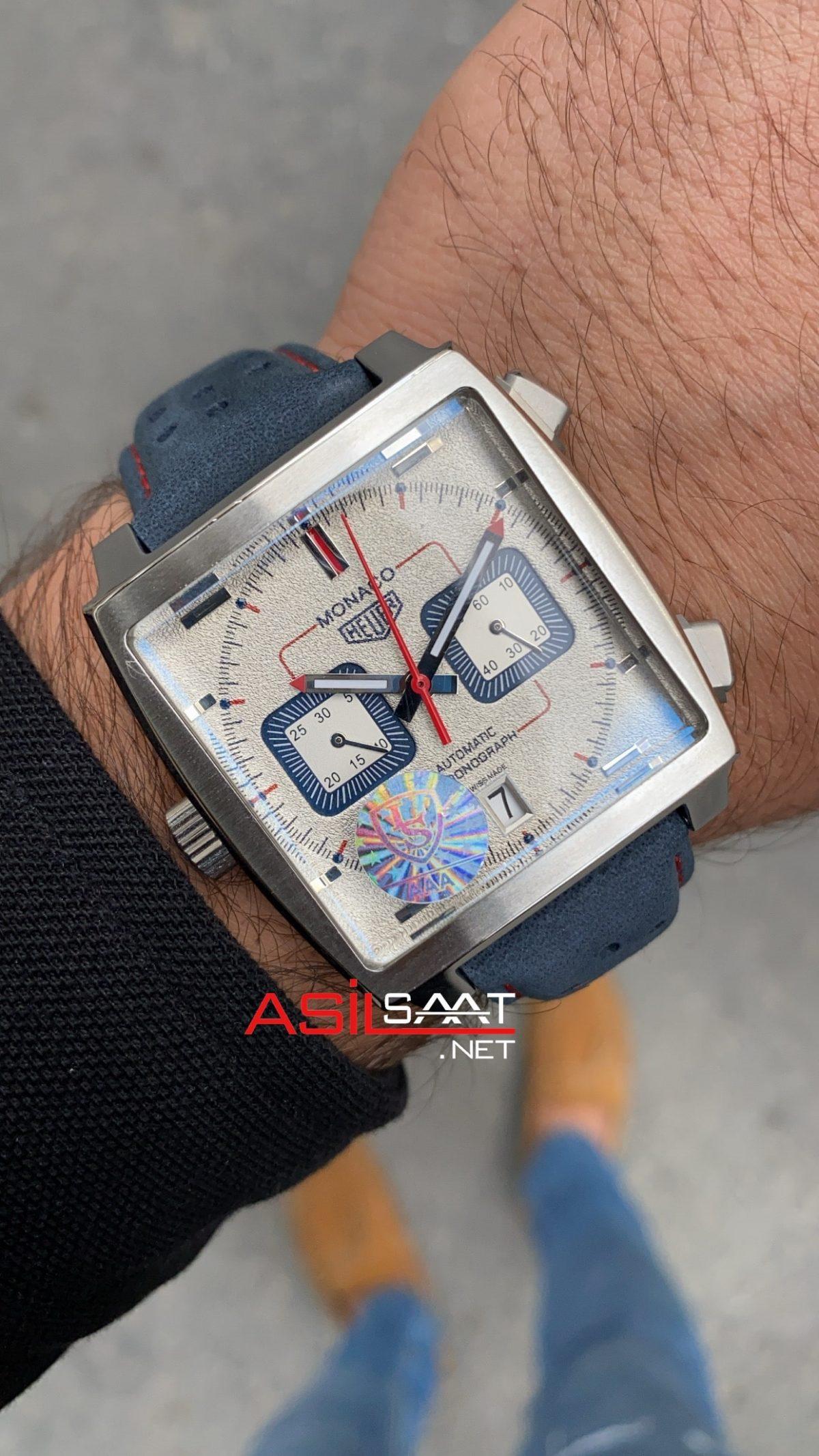 Tag Heuer Monaco Gulf Silver Replika Saat TAGMO011
