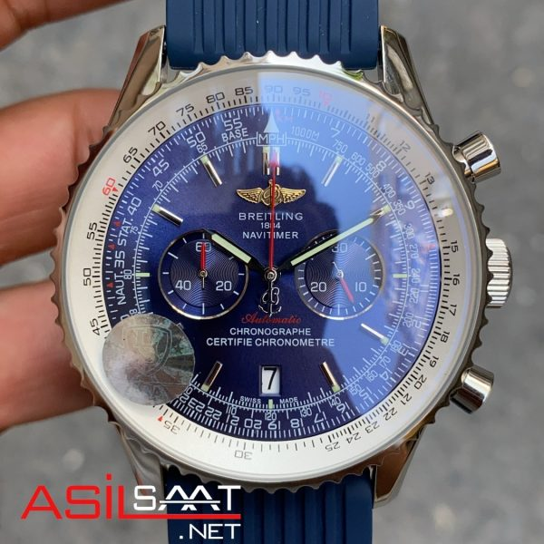 Breitling Navitimer Gümüş Mavi Kauçuk BNAV015