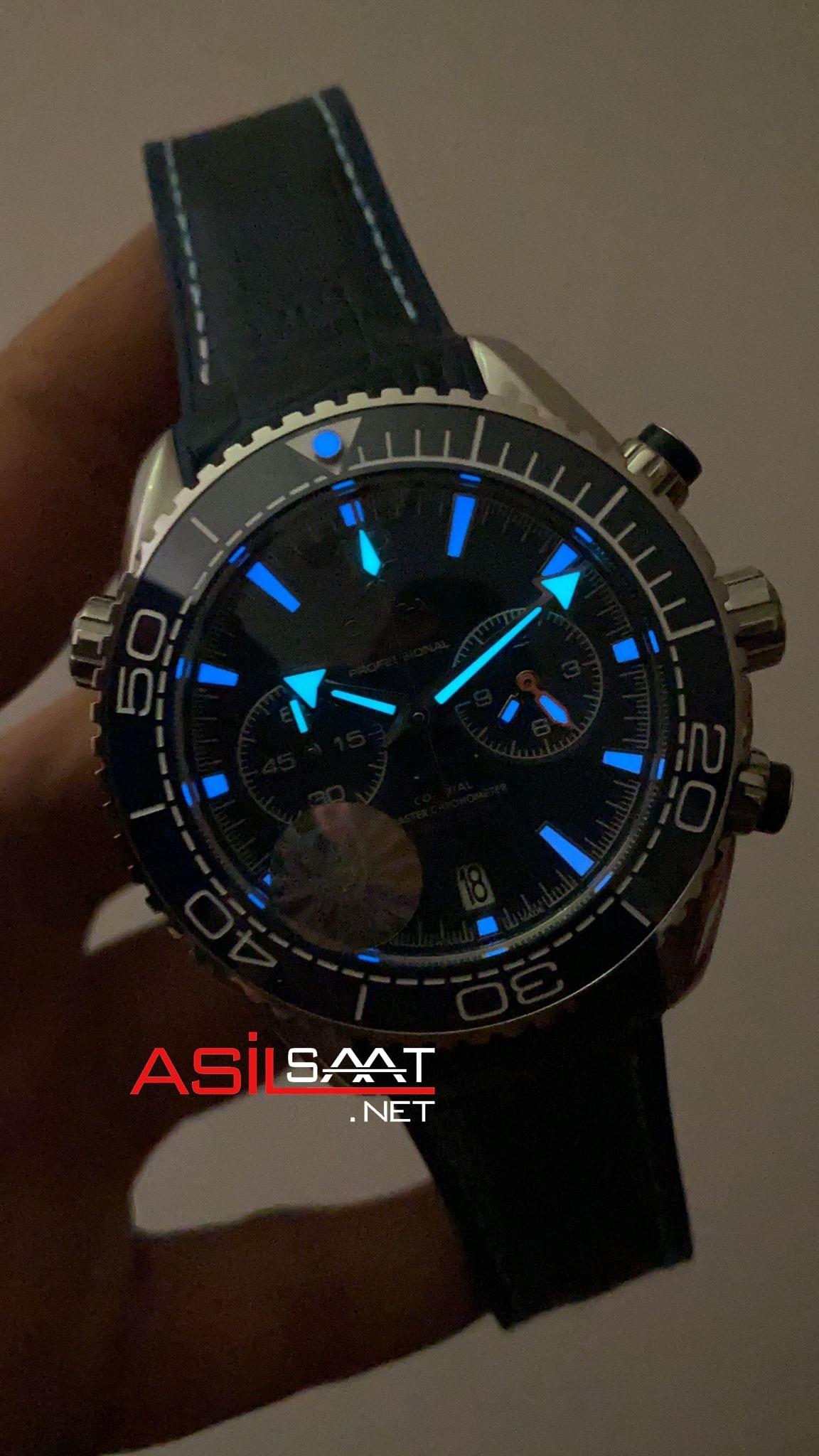OMEGA Seamaster Planet Ocean Silver Blue Replika Saat OSPL006