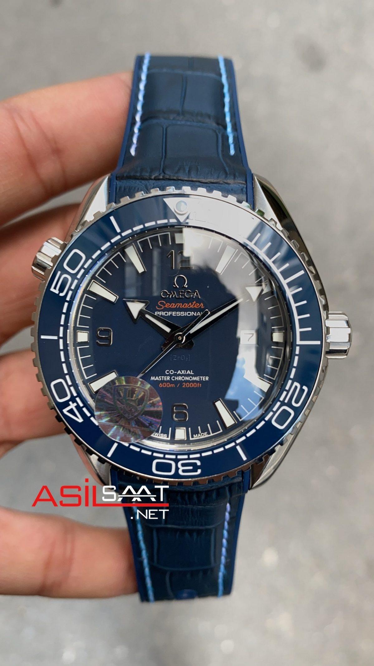 OMEGA Seamaster Planet Ocean Silver Blue Replika Saat OSPL019