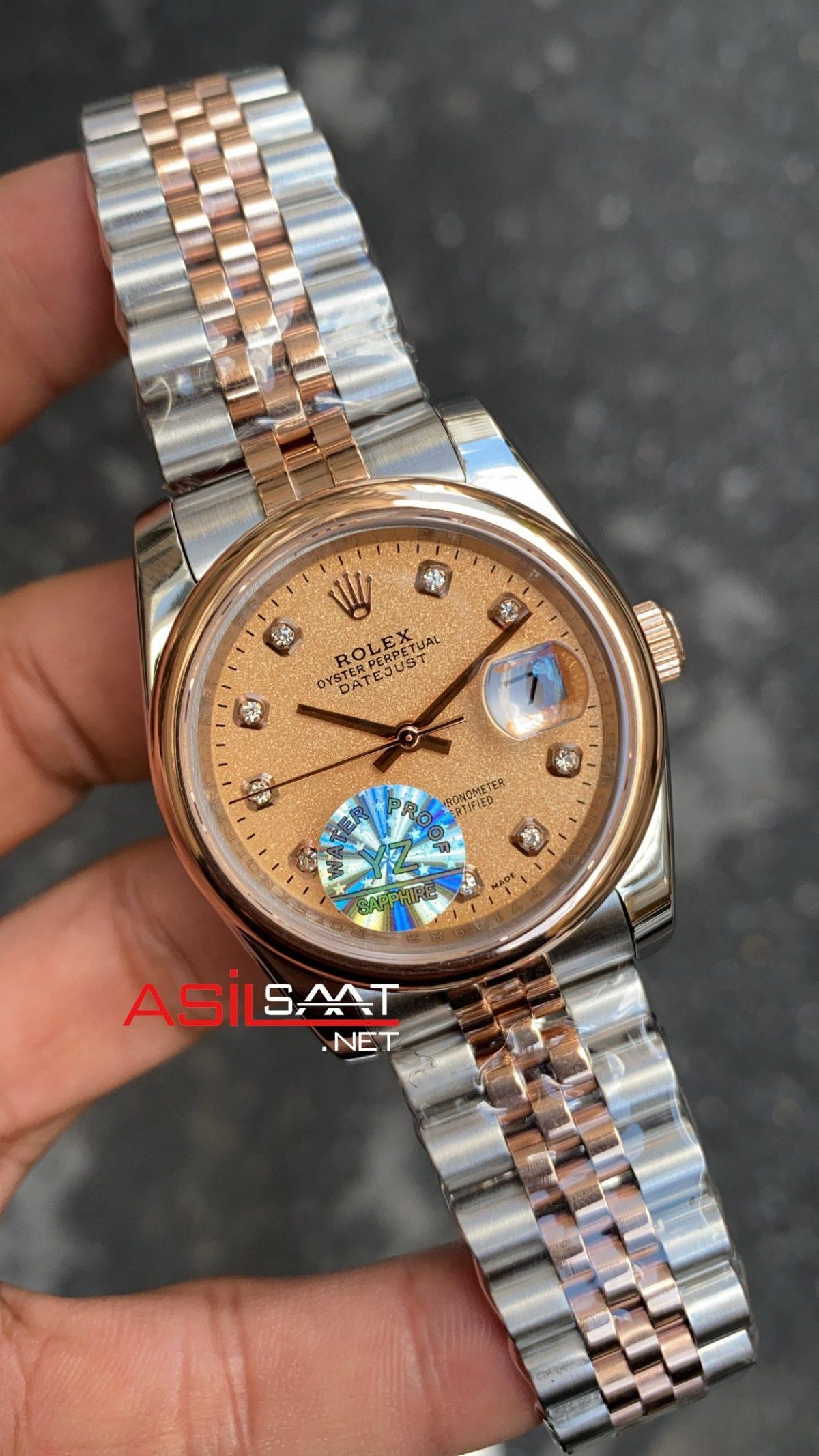 Rolex Datejust Dial Diamond Everose Gold Bayan 36 mm RBA066