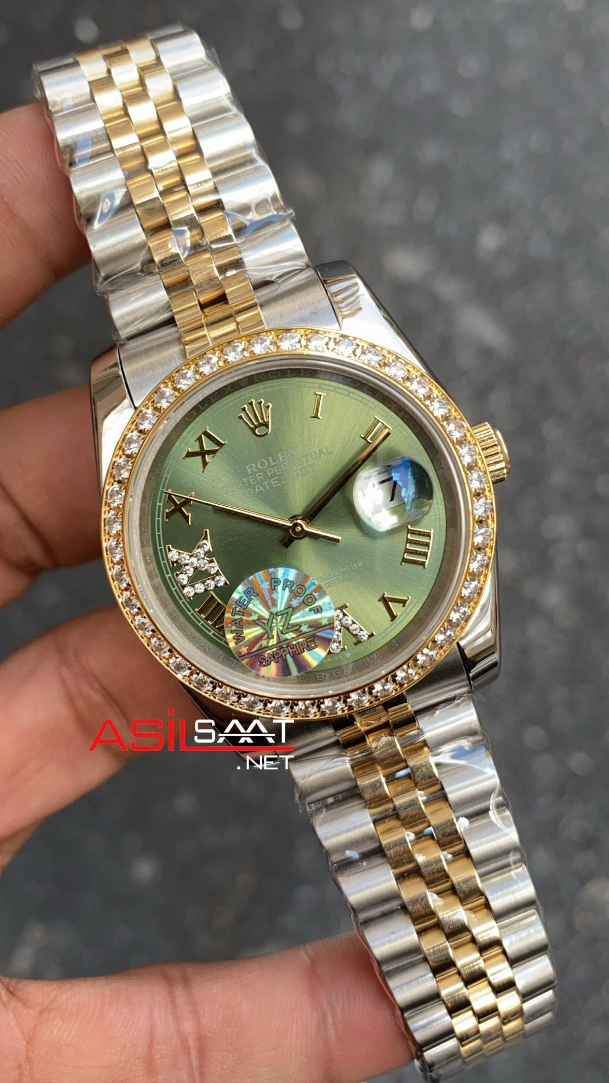 Rolex Datejust Olive Green Diamond Bayan 36 mm 126233 RBA074